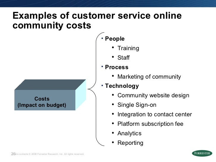 Examples of customer service online community costs <ul><li>People </li></ul><ul><ul><li>Training </li></ul></ul><ul><ul><...