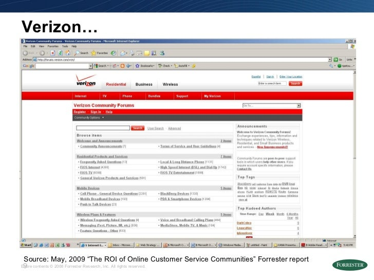 """Verizon… Source: May, 2009 """"The ROI of Online Customer Service Communities"""" Forrester report"""