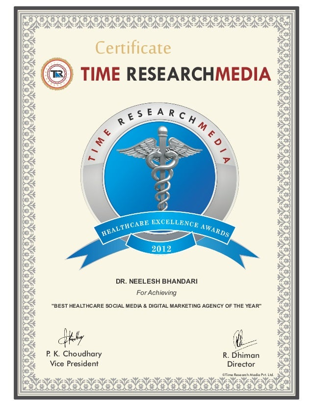 Certificate          TIME RESEARCHMEDIA                      DR. NEELESH BHANDARI                            For Achieving...