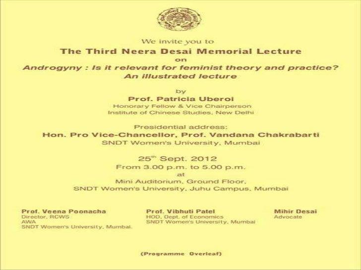 Dr. neera desai memorial lecture by Prof. Paricia Oberoion 25 9-2012