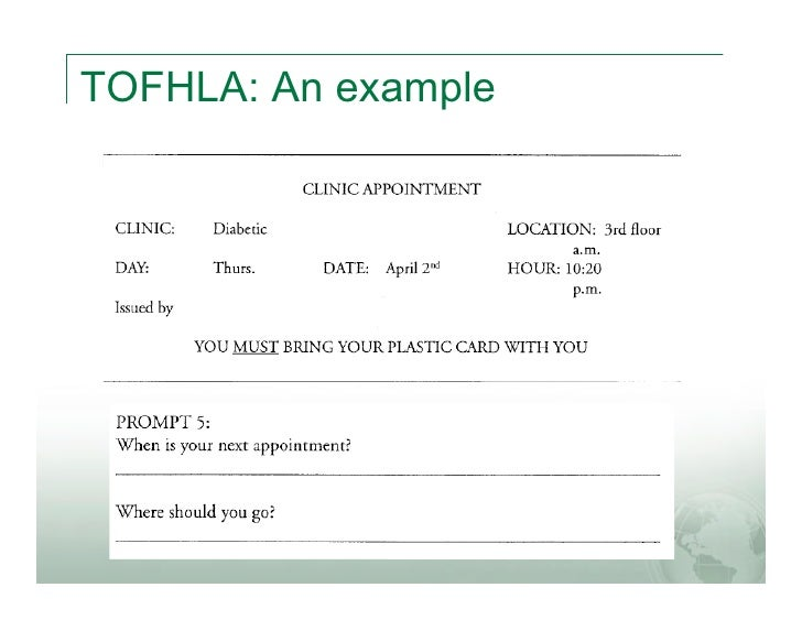 TOFHLA: An example