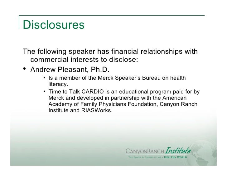 DisclosuresThe following speaker has financial relationships with  commercial interests to disclose:• Andrew Pleasant, Ph....