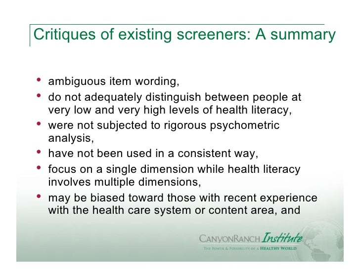 Critiques of existing screeners: A summary•   ambiguous item wording,•   do not adequately distinguish between people at  ...