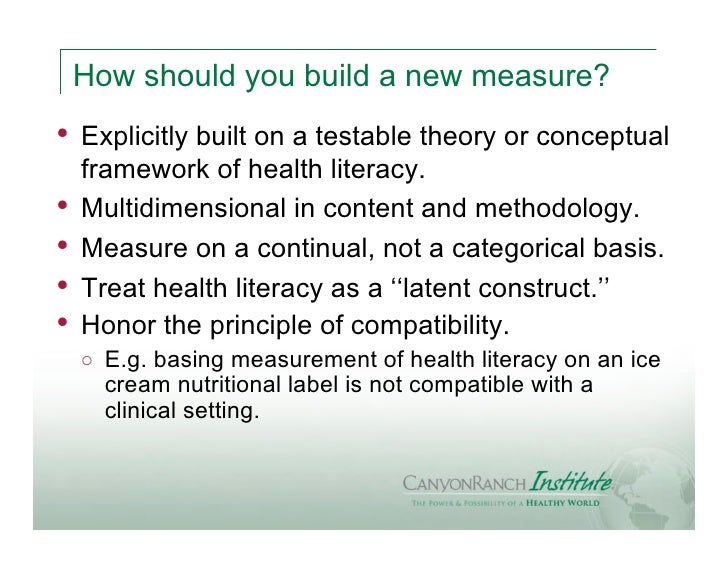 How should you build a new measure?•   Explicitly built on a testable theory or conceptual    framework of health literacy...