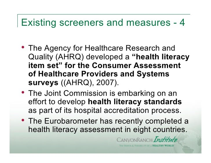 """Existing screeners and measures - 4•   The Agency for Healthcare Research and    Quality (AHRQ) developed a """"health litera..."""