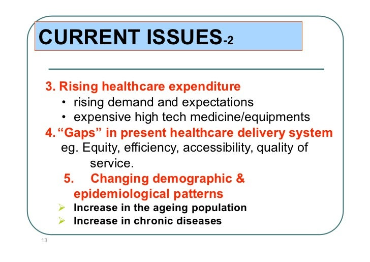 CURRENT ISSUES-2 3. Rising healthcare expenditure     • rising demand and expectations     • expensive high tech medicin...