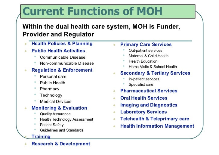 Current Functions of MOHWithin the dual health care system, MOH is Funder,Provider and Regulator   Health Policies & Pla...