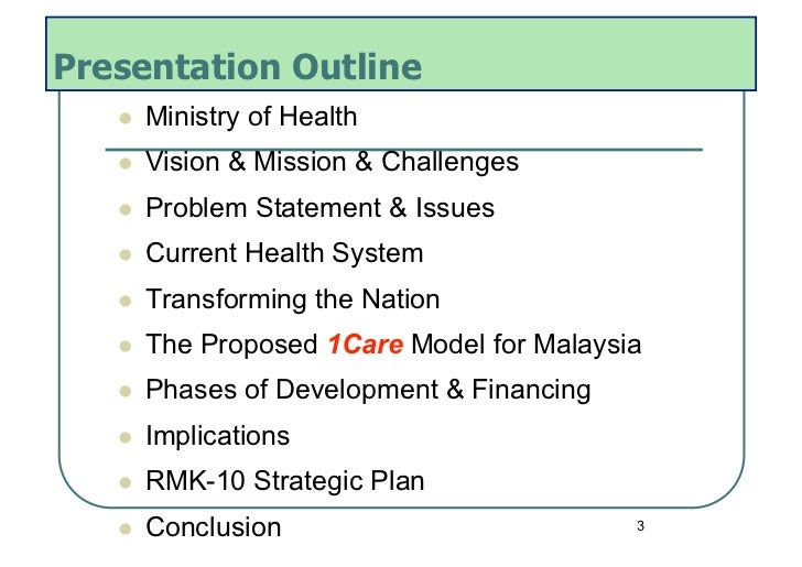 Presentation Outline      Ministry of Health      Vision & Mission & Challenges      Problem Statement & Issues   ...