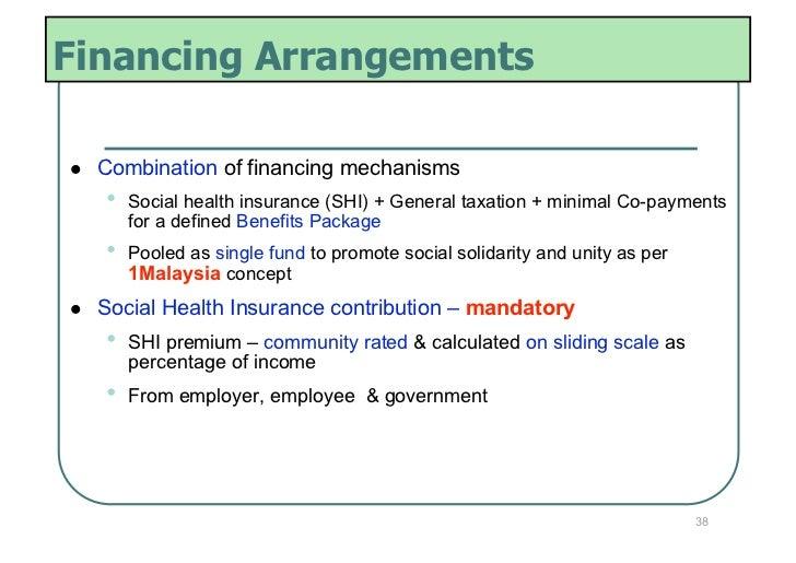 Financing Arrangements   Combination of financing mechanisms     •   Social health insurance (SHI) + General taxation +...