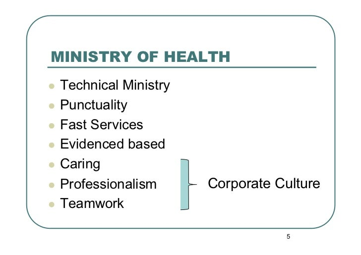MINISTRY OF HEALTH Technical Ministry Punctuality Fast Services Evidenced based Caring Professionalism      Co...