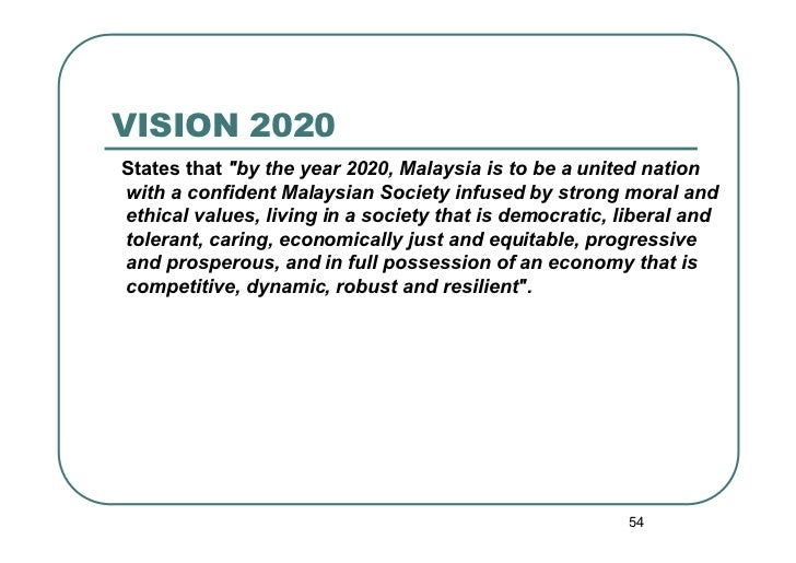 """VISION 2020States that """"by the year 2020, Malaysia is to be a united nationwith a confident Malaysian Society infused by s..."""