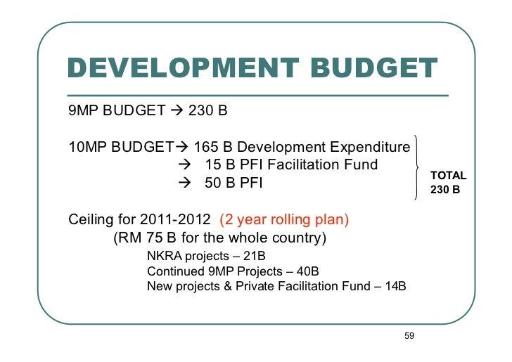 DEVELOPMENT BUDGET9MP BUDGET  230 B10MP BUDGET 165 B Development Expenditure            15 B PFI Facilitation Fund     ...
