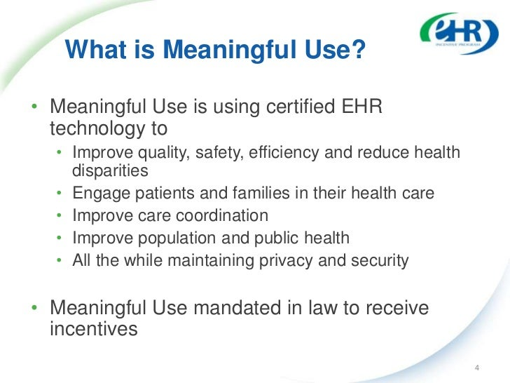 CMS Vision of Meaningful Use of HIT