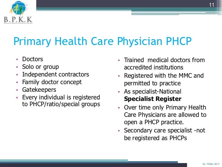 11Primary Health Care Physician PHCP•   Doctors                          • Trained medical doctors from•   Solo or group  ...