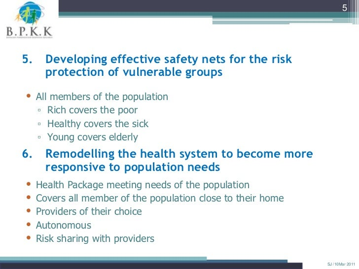 55.    Developing effective safety nets for the risk      protection of vulnerable groups• All members of the population  ...