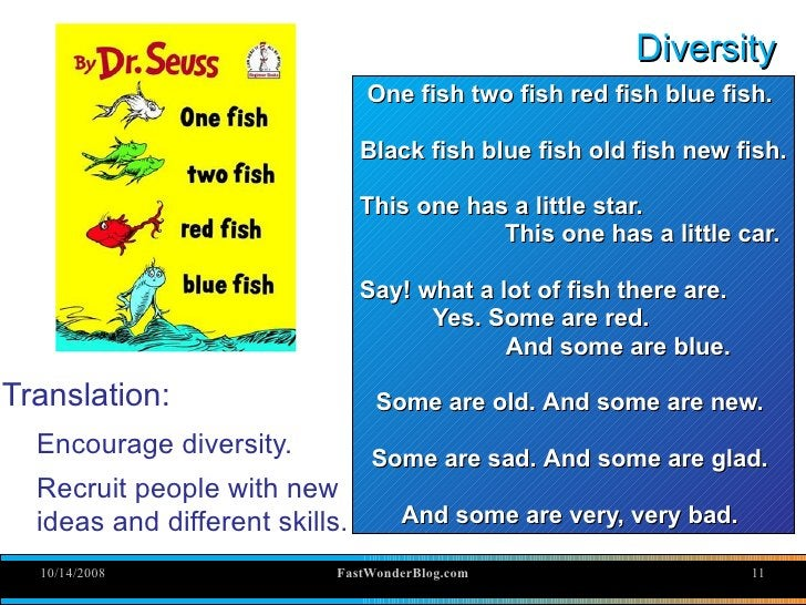 Diversity                                 One fish two fish red fish blue fish.                                  Black fis...
