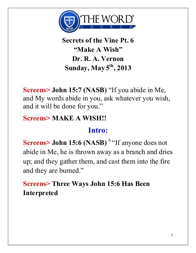 Dr. Vernon Secrets of the Vine Pt. 6- make a wish - sunday, may 5th…