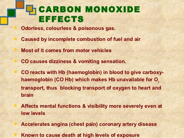 an analysis of the effects of carbon monoxide poisoning Acutely fatal co poisoning is likely due to hypoxia and its adverse effects on the   analysis of 39 patients (18-78 years of age) intoxicated by co produced from.