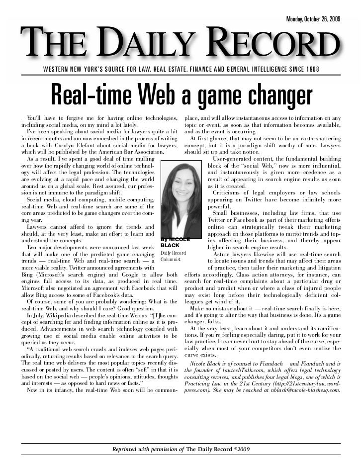 Monday, October 26, 2009    THE DAILY RECORD          WESTERN NEW YORK'S SOURCE FOR LAW, REAL ESTATE, FINANCE AND GENERAL ...
