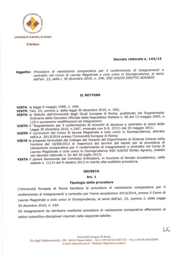 Decreto Rettoriale 143 del 2013