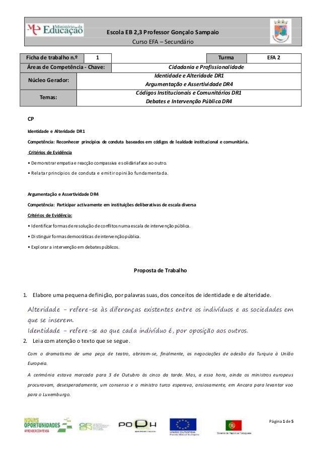 Escola EB 2,3 Professor Gonçalo Sampaio Curso EFA – Secundário Página 1de 5 Ficha de trabalho n.º 1 Turma EFA 2 Áreas de C...