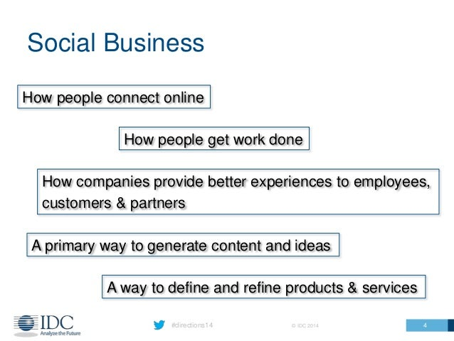 #directions14 © IDC 2014 Social Business 4 How people get work done How companies provide better experiences to employees,...