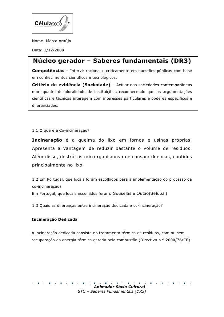 Nome: Marco Araújo  Data: 2/12/2009   Núcleo gerador – Saberes fundamentais (DR3) Competências – Intervir racional e criti...