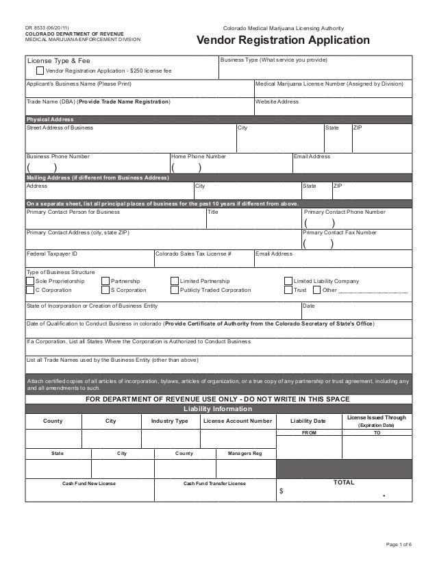 Colorado MMIP | Colorado Medical Marijuana Vendor Registration Applic…
