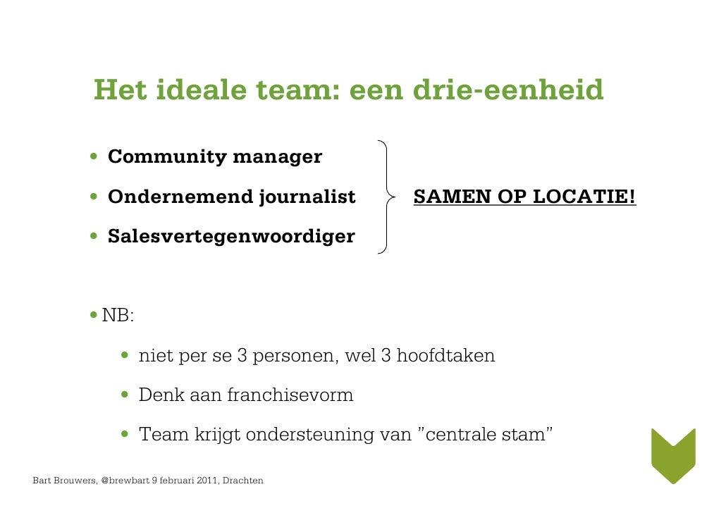 Het ideale team: een drie-eenheid            • Community manager            • Ondernemend journalist                 SAMEN...