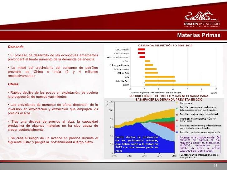 Materias Primas <ul><li>Demanda </li></ul><ul><li>El proceso de desarrollo de las economías emergentes prolongará el fuert...