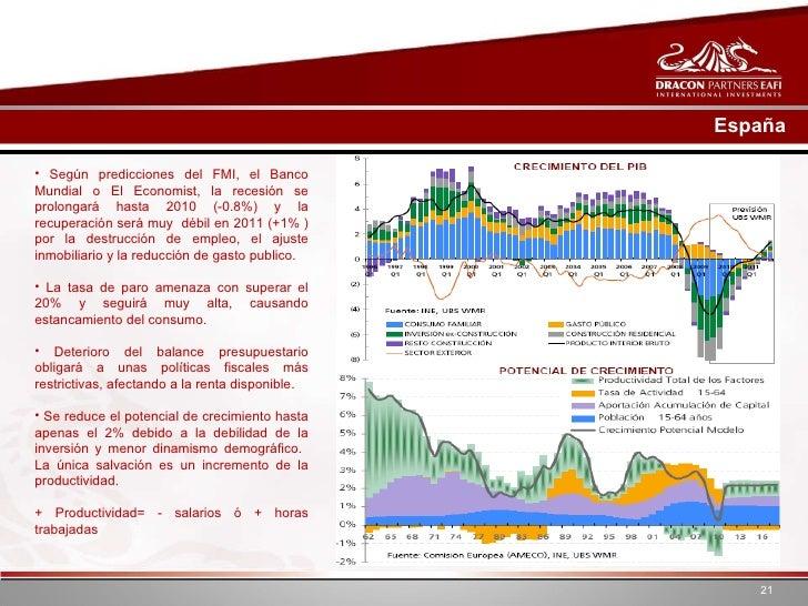 España <ul><li>Según predicciones del FMI, el Banco Mundial o El Economist, la recesión se prolongará hasta 2010 (-0.8%) y...