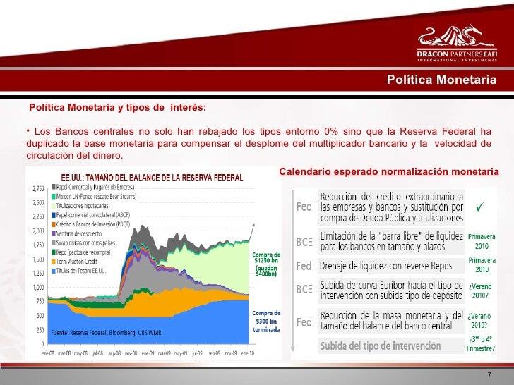 <ul><li>Política Monetaria y tipos de  interés:  </li></ul><ul><li>Los Bancos centrales no solo han rebajado los tipos ent...