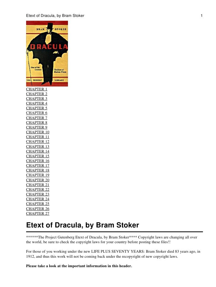 Etext of Dracula, by Bram Stoker                                                                        1     CHAPTER 1 CH...
