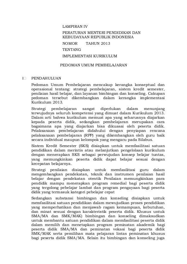 LAMPIRAN IV PERATURAN MENTERI PENDIDIKAN DAN KEBUDAYAAN REPUBLIK INDONESIA NOMOR  TAHUN 2013  TENTANG IMPLEMENTASI KURIKUL...