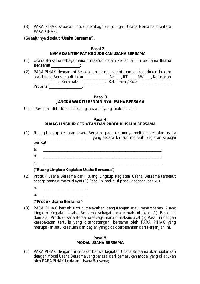 contoh surat perjanjian joint venture atau kerjasama usaha