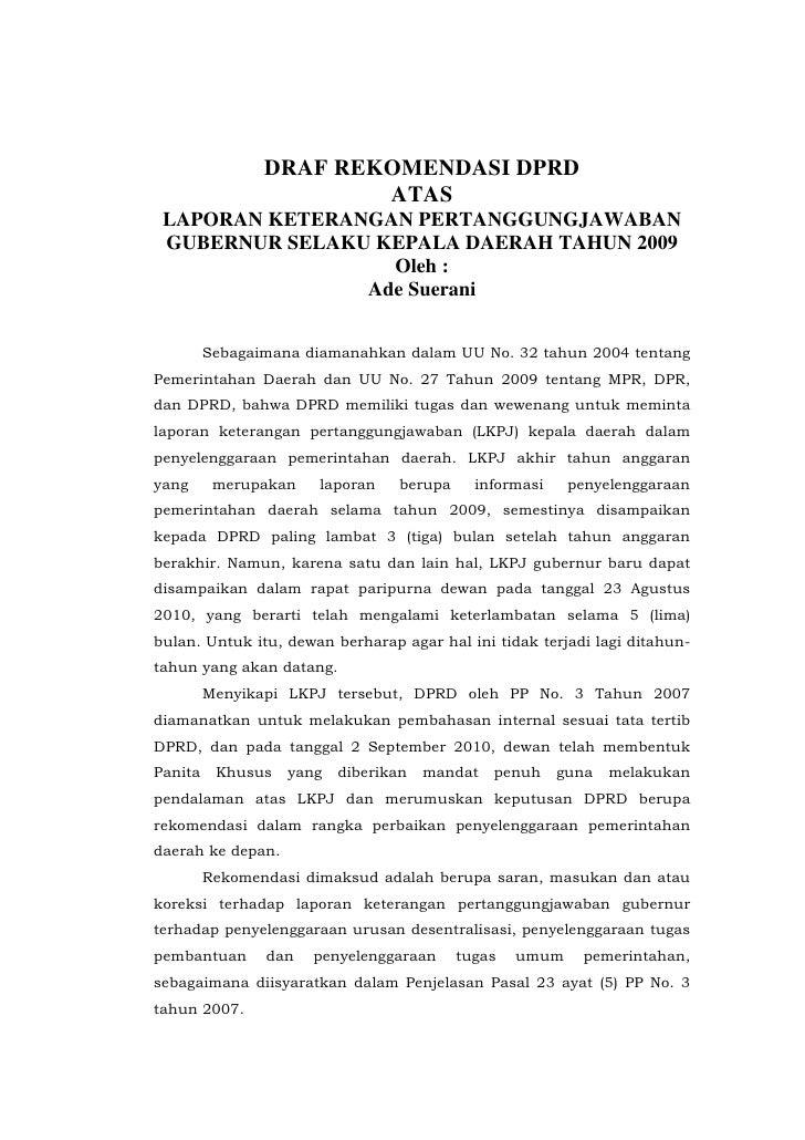 DRAF REKOMENDASI DPRD                         ATAS  LAPORAN KETERANGAN PERTANGGUNGJAWABAN  GUBERNUR SELAKU KEPALA DAERAH T...