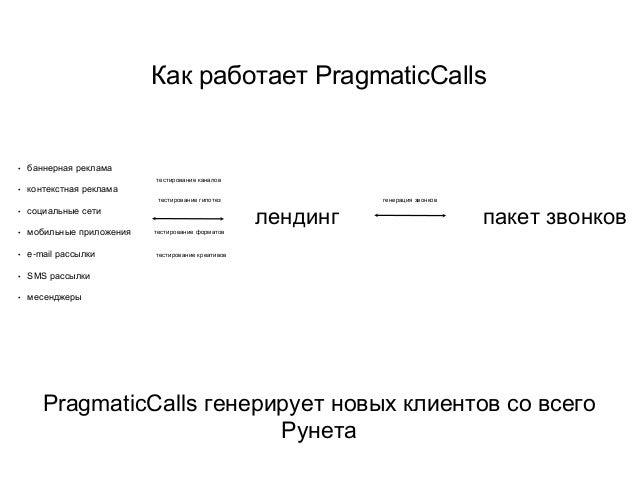 Как работает PragmaticCalls • баннерная реклама • контекстная реклама • социальные сети • мобильные приложения • e-mail ра...