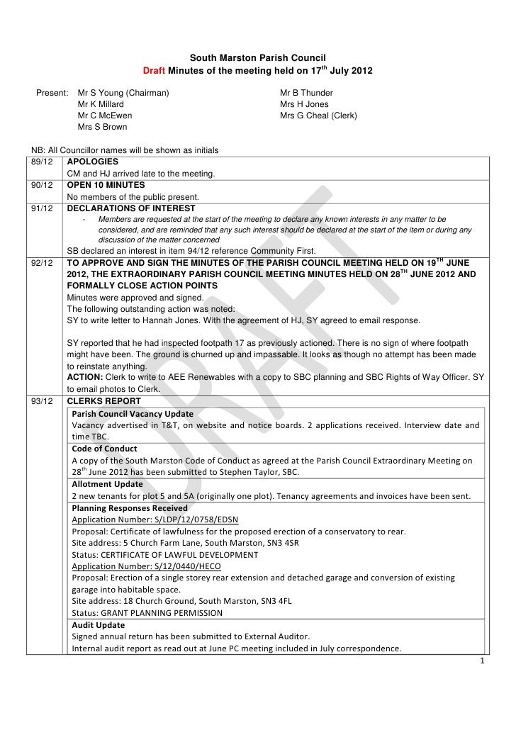 South Marston Parish Council                               Draft Minutes of the meeting held on 17th July 2012 Present:   ...