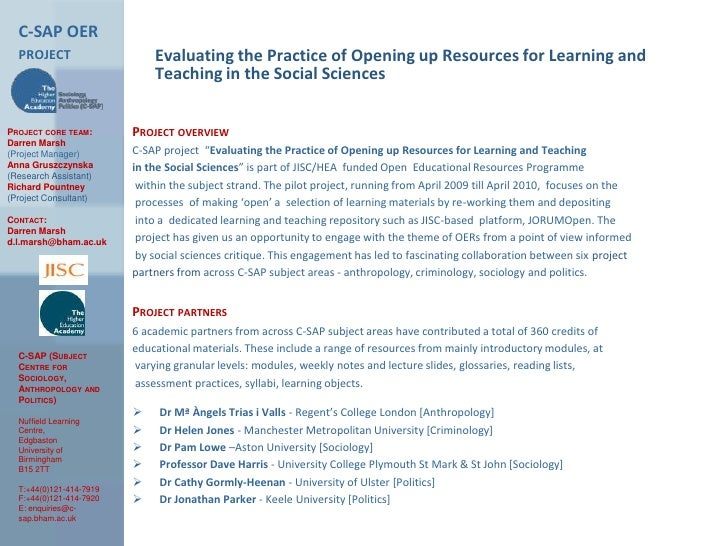 C-SAP OER project<br />Evaluating the Practice of Opening up Resources for Learning and Teaching in the Social Sciences<br...