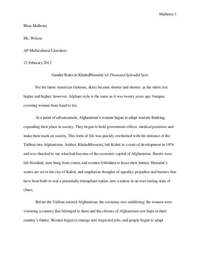 Malhotra 1Rhea MalhotraMs. WilsonAP Multicultural Literature12 February 2013                   Gender Roles in KhaledHosse...