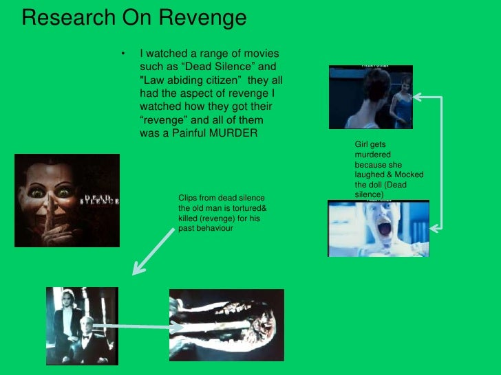 "Research On Revenge        •   I watched a range of movies            such as ""Dead Silence"" and            ""Law abiding c..."