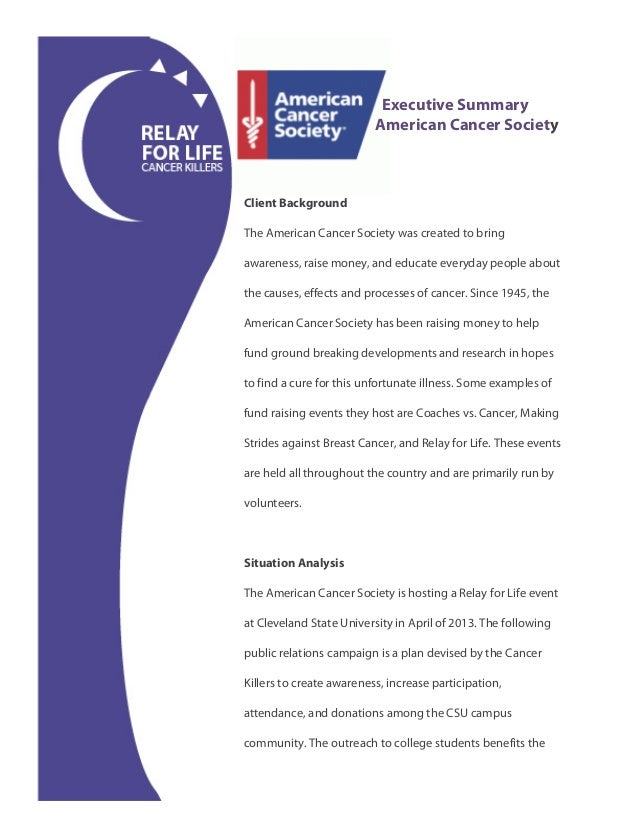 Relay for life cancer killers 2 executive summary american cancer societyclient backgroundthe american cancer society toneelgroepblik Choice Image