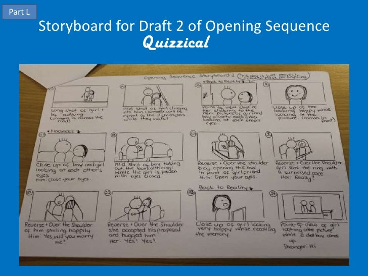 Part L         Storyboard for Draft 2 of Opening Sequence                       Quizzical