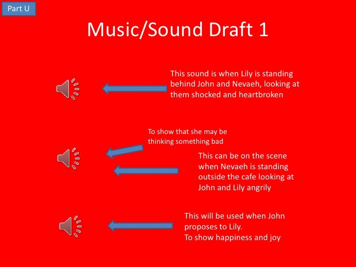 Part U         Music/Sound Draft 1                     This sound is when Lily is standing                     behind John...