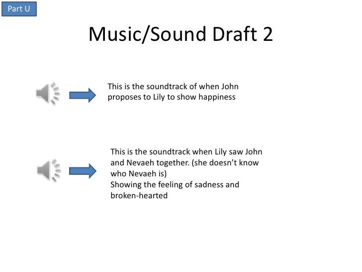 Part U         Music/Sound Draft 2          This is the soundtrack of when John          proposes to Lily to show happines...