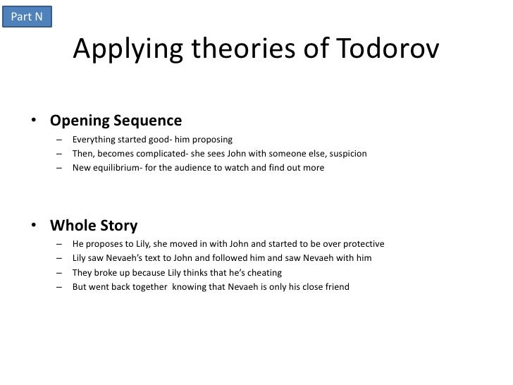 Part N             Applying theories of Todorov   • Opening Sequence         –   Everything started good- him proposing   ...