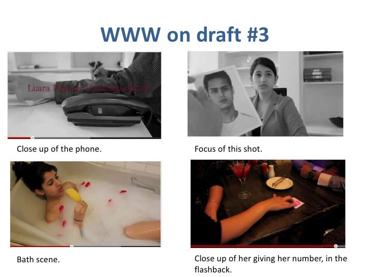WWW on draft #3Close up of the phone.       Focus of this shot.Bath scene.                  Close up of her giving her num...