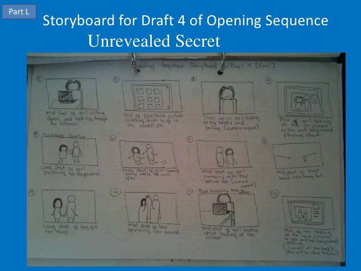 Part L         Storyboard for Draft 4 of Opening Sequence               Unrevealed Secret
