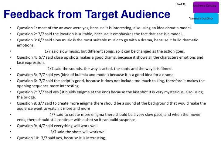 Part Q     Andreea CristeaFeedback from Target Audience                                                                   ...