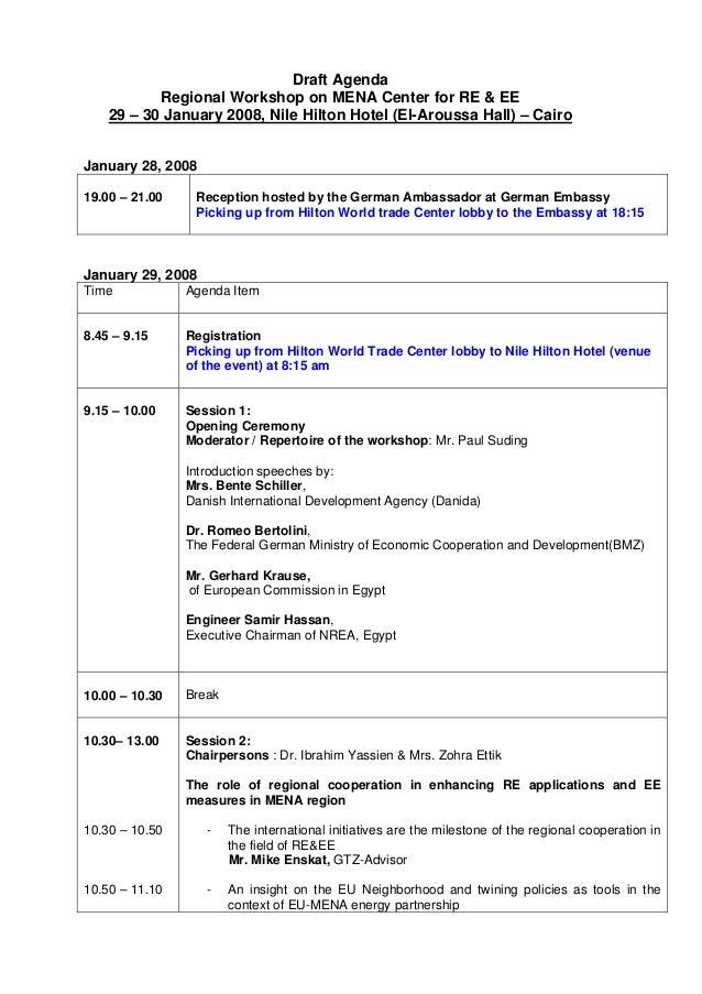 draft agenda for the regional workshop on mena center for